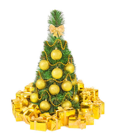 tied in: Christmas tree decorated with golden shining balls, garland and beads, and heap of holiday gifts in golden fancy boxes tied by bright ribbons and bows isolated on white background