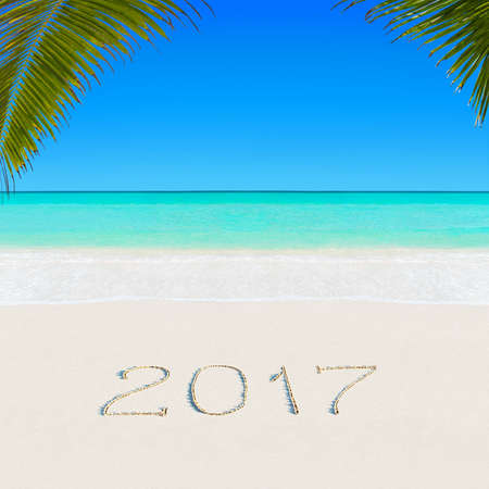 Happy New Year 2017 caption on sandy palm ocean tropical summer azure beach against blue sky