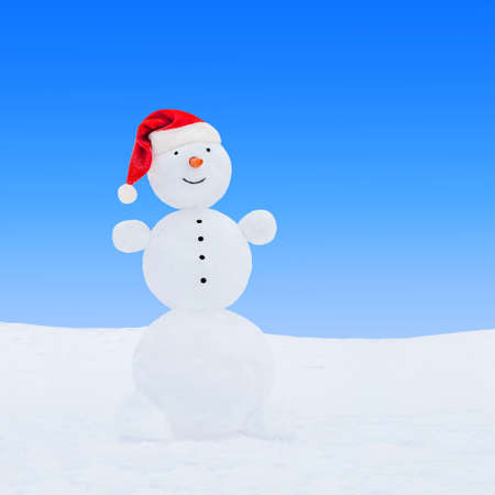 Winter snowman in red Christmas Santa hat on snow at blue sky background. New Year's greeting card concept