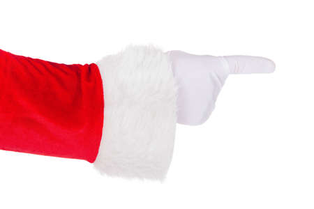 Santa Claus hand in white glove and red costume pointing his fingers isolated on white background. Hand and arm in horizontal format.