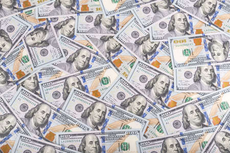United states dollars currency background, many new one hundred USA money banknotes 스톡 콘텐츠