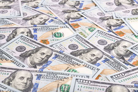 United states of America dollars currency background, many new one hundred USA money banknotes