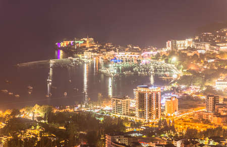 Night panoramic mountain view of Budva old and new town on Adriatic Sea, Montenego, Europe.