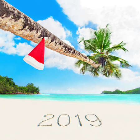 Red Santa hat on coconut palm tree at perfect tropical white sandy ocean beach at season year 2019 sand inscription. Holiday concept for New Years and Christmas Cards. Seychelles, Mahe island.