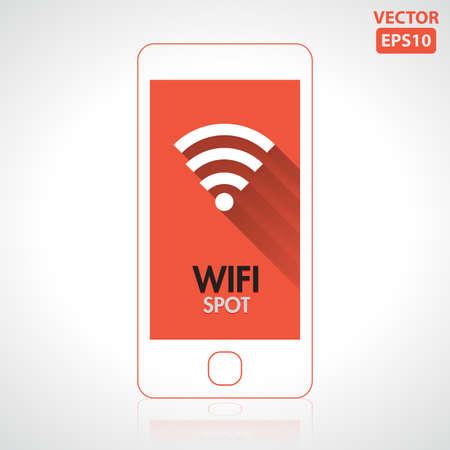 boardcast: Wifi spot icon on smartphone vector