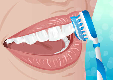 dental assistant: Healthy teeth dental with toothbrush illustration