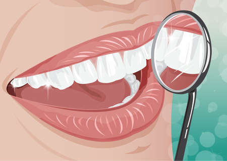 dentist cartoon: Healthy teeth dental with magnifying