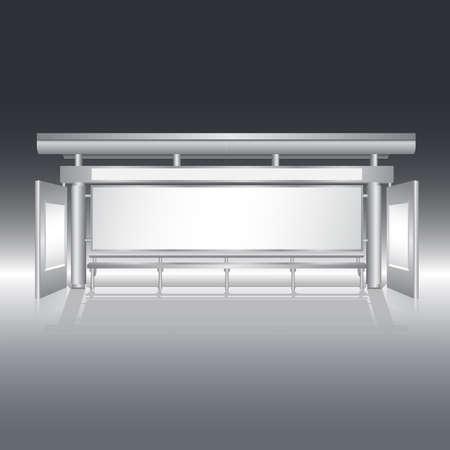 Bus stop with blank panel billboard vector Vector