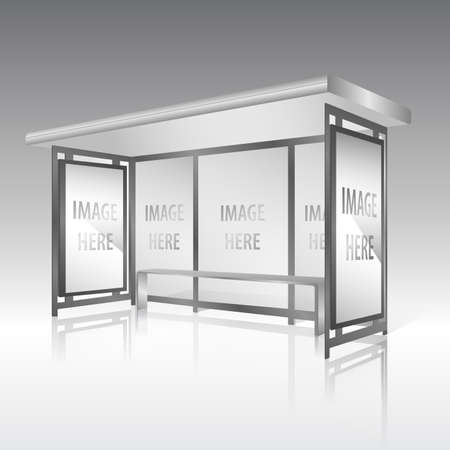 Blank panel on bus stop with billboard vector Vector