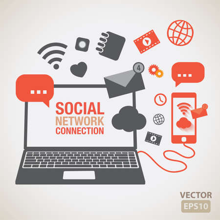 Social network element and icons vector Vector