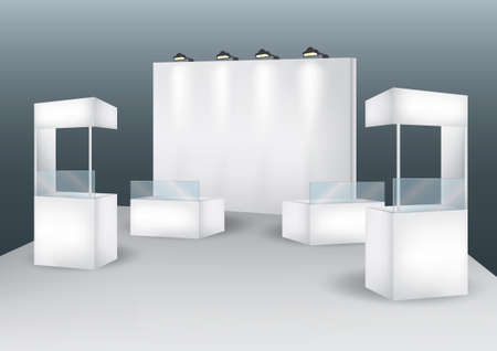 exhibition stand: Blank booth event display vector