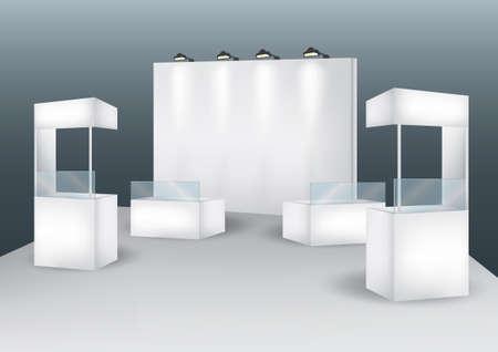 beursvloer: Lege kraam evenement displayvector Stock Illustratie