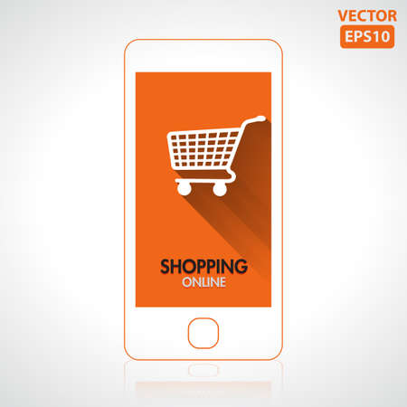 Shopping online icon with smartphone vector Vector
