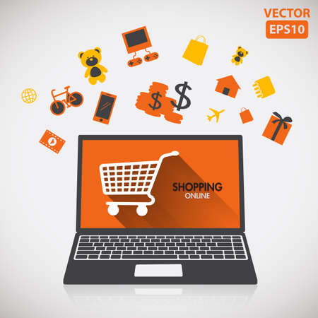 Illustration of buying and shopping online with icon vector