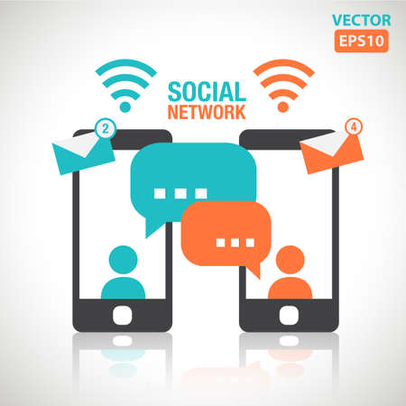 Illustration of social media messaging between two touch screen smartphone vector Illustration