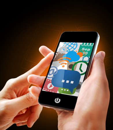 cellphone icon: Smartphone with simple application icons in hands