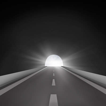 road tunnel: Road ahead to successful with tunnel illustration