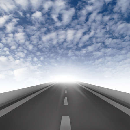 vanishing: Road ahead on blue sky background, road to the success Stock Photo