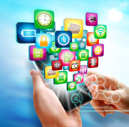 Business hand touch screen mobile with business symbols icons