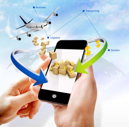 Illustration of business logistics on mobile illustration