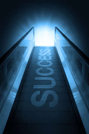 Escalator of walkway to success on blue sky background photo