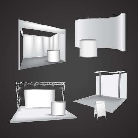 空白の展示会ディスプレイのベクトルのセット  イラスト・ベクター素材