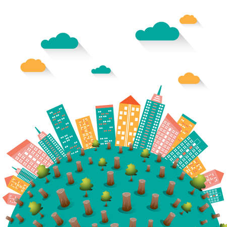 Global warming with cityscape illustration vector