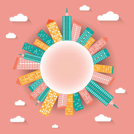Cityscape illustration with buildings on globe in flat design style vector