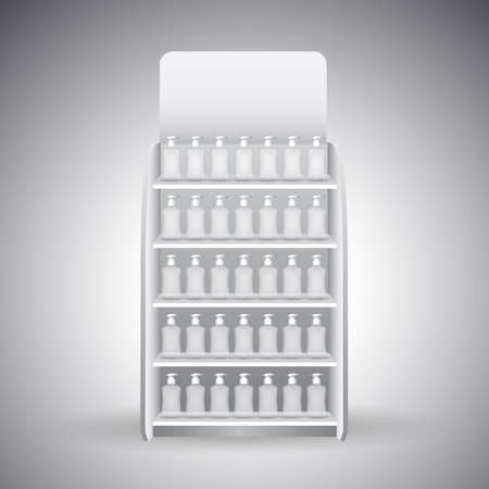 shelves: Retail Store Shelf display vector Illustration
