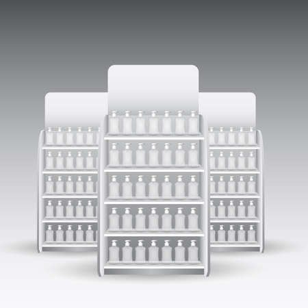 single shelf: Retail Store Shelf with packaging vector