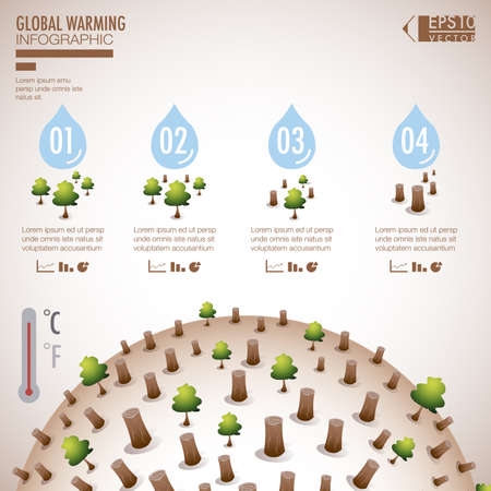 Global warming infographic elements vector