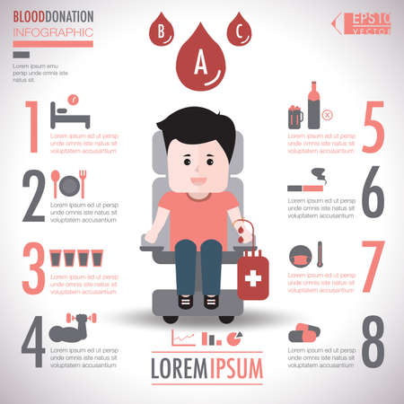 Donate blood infographic elements vector