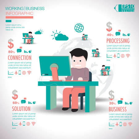 Working business infographic elements vector