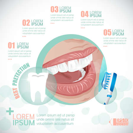 dental floss: Tooth Dental Infographic Template vector
