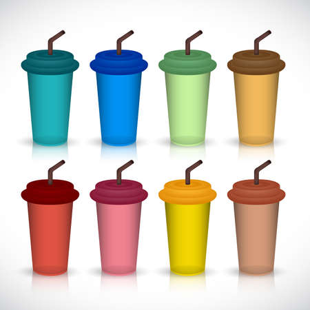 Set of colorful plastics coffee cup isolated on background vector Иллюстрация