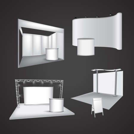 commercial event: Set of blank exhibition display vector Illustration