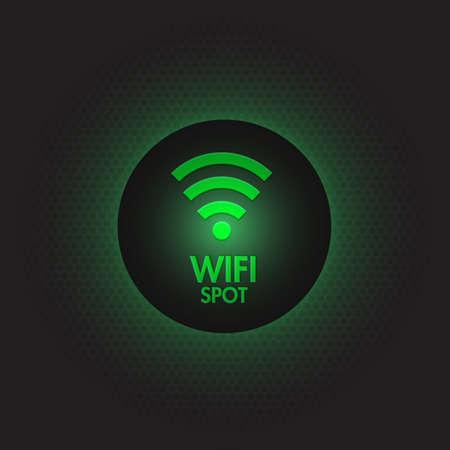Abstract green wifi spot vector design