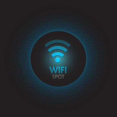 Abstract blue wifi spot vector design