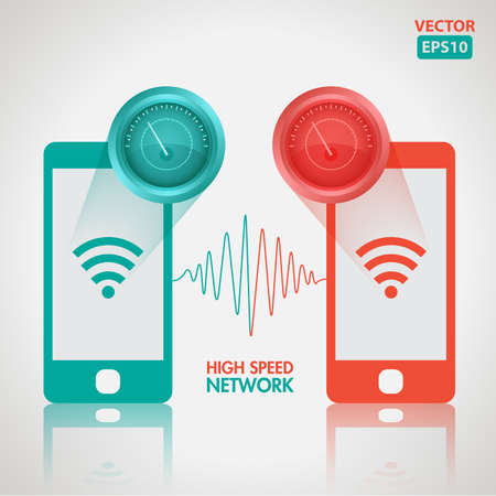 High speed network illustration with icons Иллюстрация