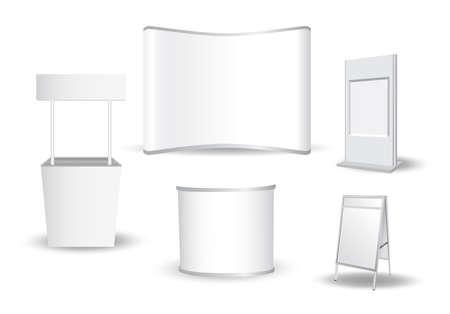 Conjunto de exposición en blanco soporte vectorial Ilustración de vector