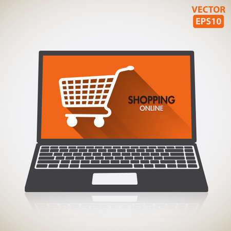 armchair shopping: Laptop of buying or shopping online using computer illustration