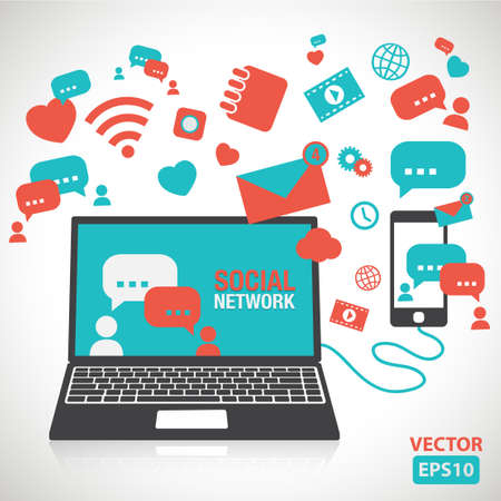 Illustration of social network element and icons vector Иллюстрация