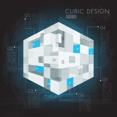 Abstract cubic design infographic  Иллюстрация