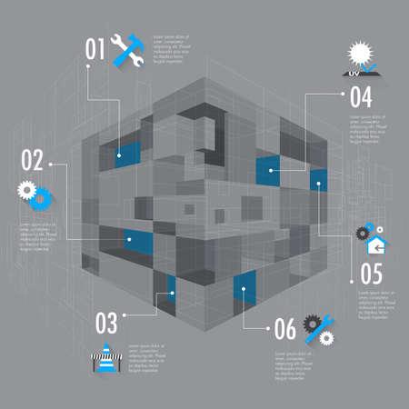 arquitectura abstracta: Configuraci�n abstracta elemento inforgraphic vectorial Vectores