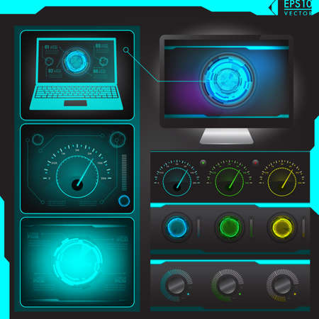 Abstract technology UI design vector