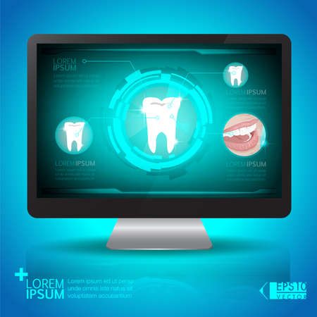 analyze: Tooth analyze on computer screen vector