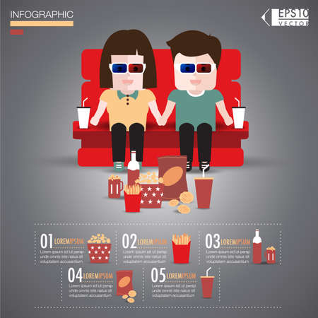 couch potato: Couple see a movie infographics vector