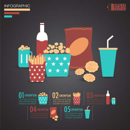Snack infographic elements illustration vector