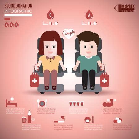 blood transfusion: Couple blood donation infographic element vector
