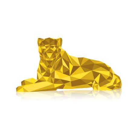 Gold leopard stylized triangle polygonal model